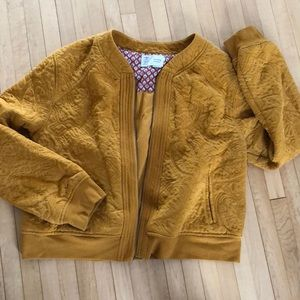 Anthropologie Spring Jacket Cardigan Mustard Zip